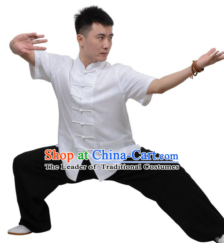 Top Kung Fu Linen Costume Martial Arts Costume Kung Fu Training Short Sleeve White Uniform, Gongfu Shaolin Wushu Tai Ji Plated Buttons Clothing for Women for Men