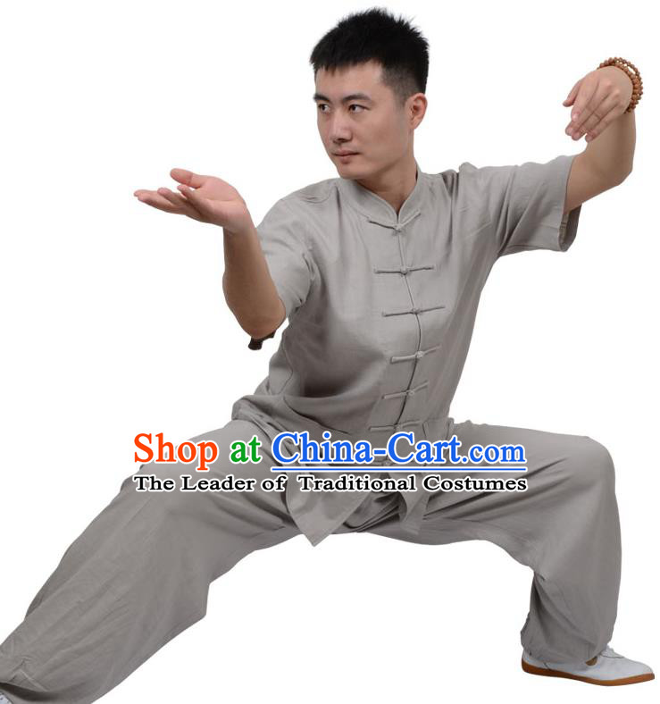 Top Kung Fu Linen Costume Martial Arts Costume Kung Fu Training Short Sleeve Grey Uniform, Gongfu Shaolin Wushu Tai Ji Plated Buttons Clothing for Women for Men