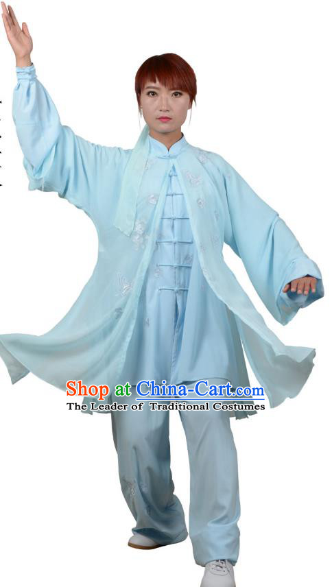 Top Kung Fu Costume Martial Arts Costume Kung Fu Training Blue Uniform, Gongfu Shaolin Wushu Embroidery Crane Tai Ji Three-Piece Clothing for Women for Men