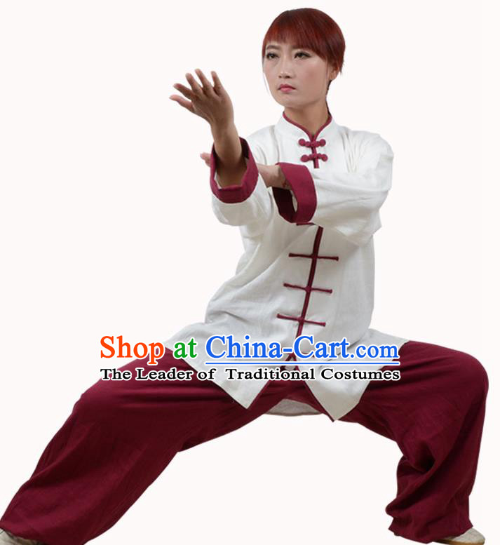 Top Kung Fu Linen Costume Martial Arts Costume Kung Fu Training White Shirt and Red Pants, Tai Ji Plated Buttons Uniform Gongfu Wushu Clothing for Women for Men