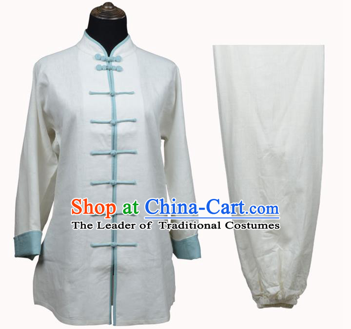 Top Kung Fu Linen Costume Martial Arts Costume Kung Fu Training White Shirt and Pants, Tai Ji Light Blue Plated Buttons Uniform Gongfu Wushu Clothing for Women for Men