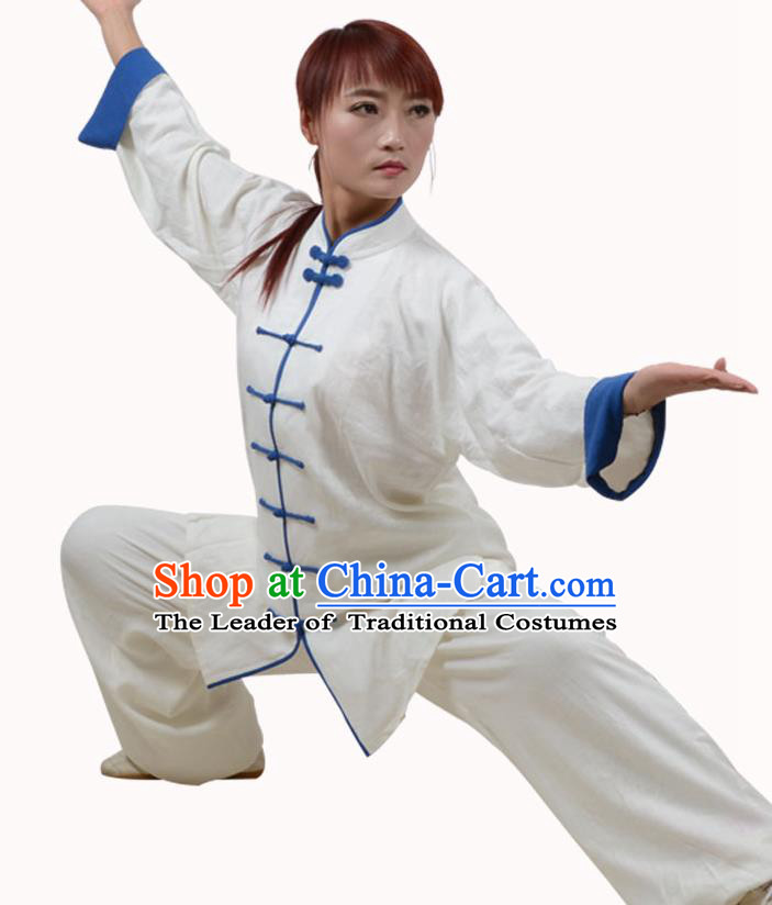Top Kung Fu Linen Costume Martial Arts Costume Kung Fu Training White Shirt and Pants, Tai Ji Blue Plated Buttons Uniform Gongfu Wushu Clothing for Women for Men