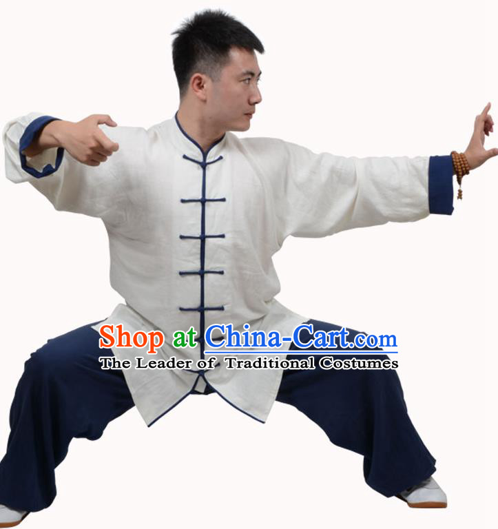 Top Kung Fu Linen Costume Martial Arts Costume Kung Fu Training White Shirt and Navy Pants, Tai Ji Plated Buttons Uniform Gongfu Wushu Clothing for Women for Men