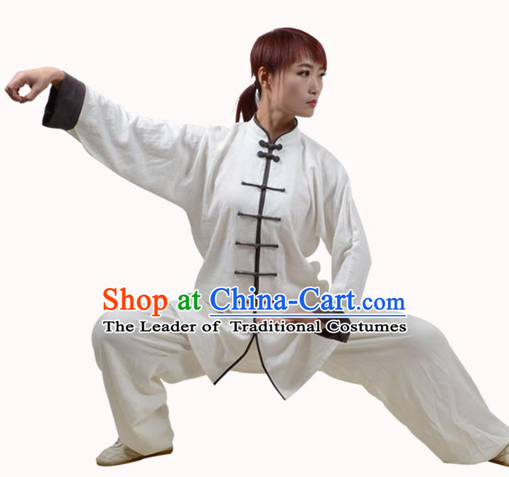 Top Kung Fu Linen Costume Martial Arts Costume Kung Fu Training White Shirt and Pants, Tai Ji Plated Buttons Uniform Gongfu Wushu Clothing for Women for Men