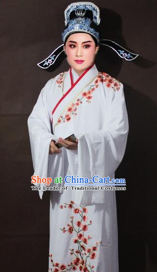 Traditional China Beijing Opera Niche Costume White Embroidered Robe, Chinese Peking Opera Scholar Embroidery Clothing