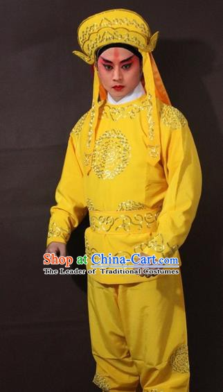 Traditional China Beijing Opera Takefu Embroidered Yellow Costume, Chinese Peking Opera Soldier Clothing