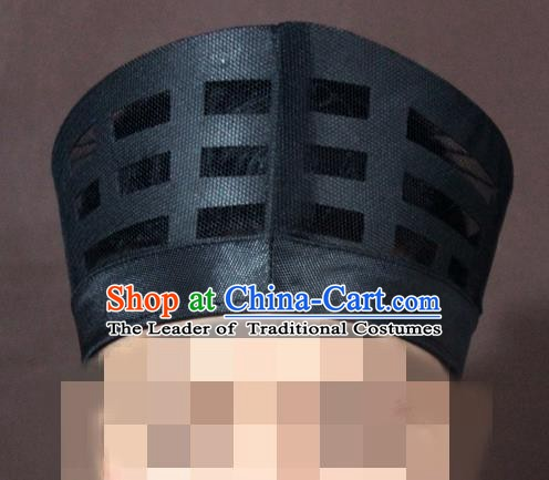 Traditional Chinese Beijing Opera Wu Dang Taoist Black Hats Headband for Men