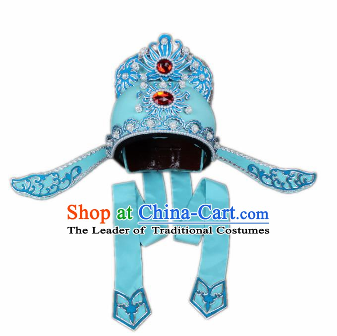 Traditional China Beijing Opera Share-win Scholar Blue Hats, Chinese Peking Opera Niche Headwear