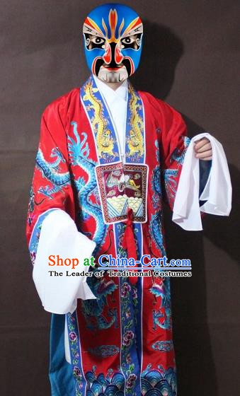 Traditional China Beijing Opera Taoist Embroidery Costume, Chinese Peking Opera Red Embroidered Robe Clothing