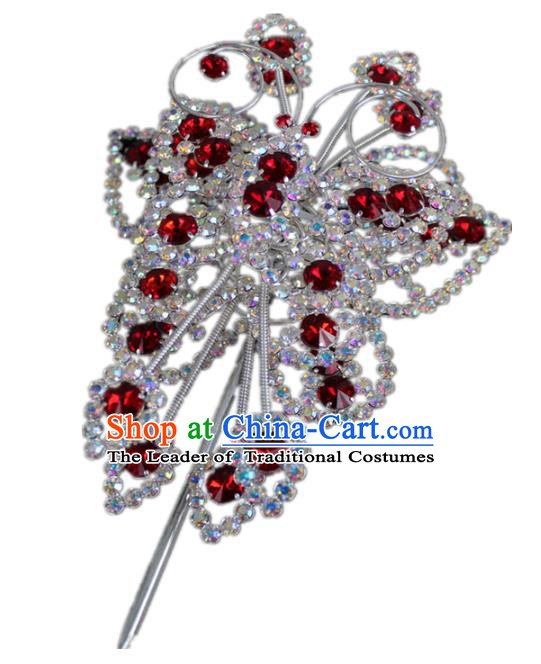 Traditional China Beijing Opera Actress Hair Accessories Butterfly Hairpins, Chinese Peking Opera Diva Crystal Step Shake Headwear