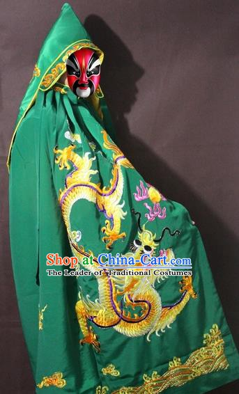 Traditional China Beijing Opera Costume Embroidery Dragon Cloak, Chinese Peking Opera General Green Embroidered Cape