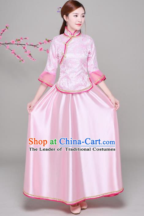Traditional Chinese Republic of China Nobility Lady Clothing, China National Embroidered Pink Blouse and Skirt for Women