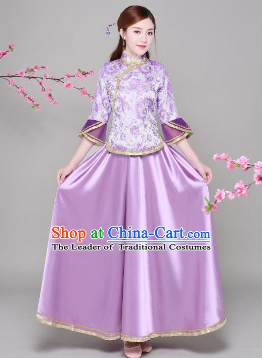 Traditional Chinese Republic of China Nobility Lady Clothing, China National Embroidered Purple Blouse and Skirt for Women