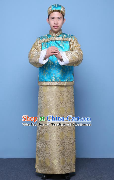 Traditional Ancient Chinese Qing Dynasty Prince Costume, China Manchu Nobility Childe Embroidered Blue Mandarin Jacket Clothing for Men