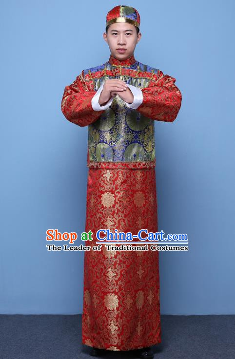 Traditional Ancient Chinese Qing Dynasty Prince Costume, China Manchu Nobility Childe Blue Mandarin Jacket Clothing for Men