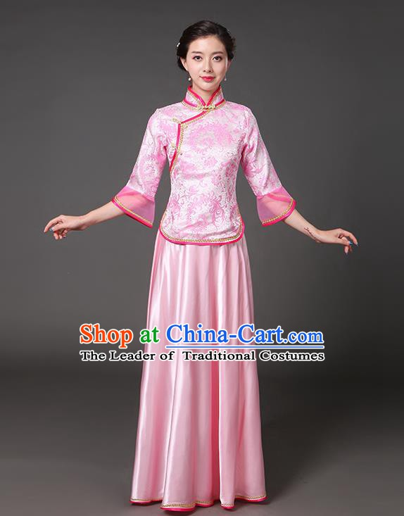 Traditional Chinese Republic of China Nobility Lady Clothing, China National Pink Cheongsam Blouse and Skirt for Women