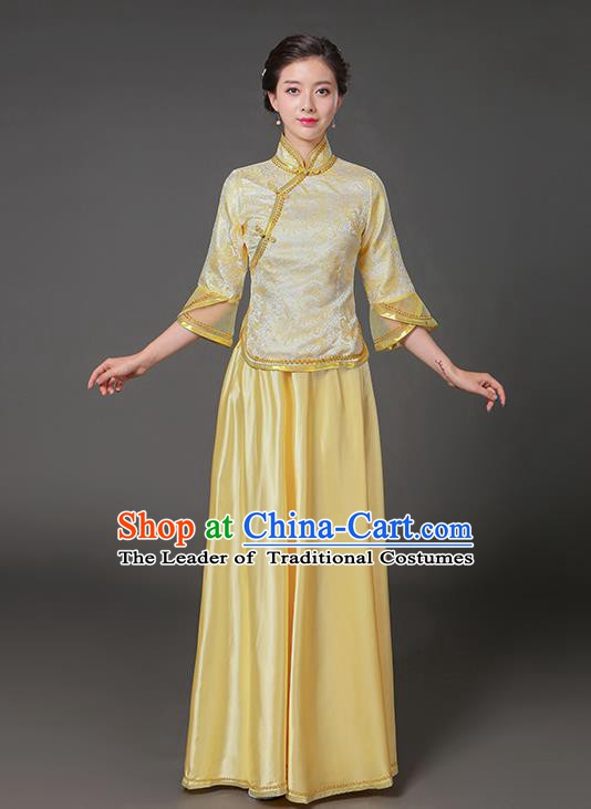 Traditional Chinese Republic of China Nobility Lady Clothing, China National Yellow Cheongsam Blouse and Skirt for Women
