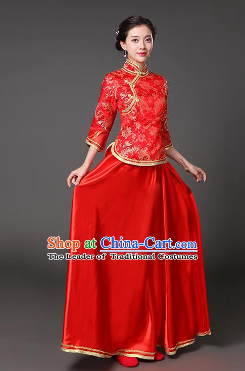 Traditional Chinese Republic of China Nobility Lady Clothing, China National Red Cheongsam Blouse and Skirt for Women