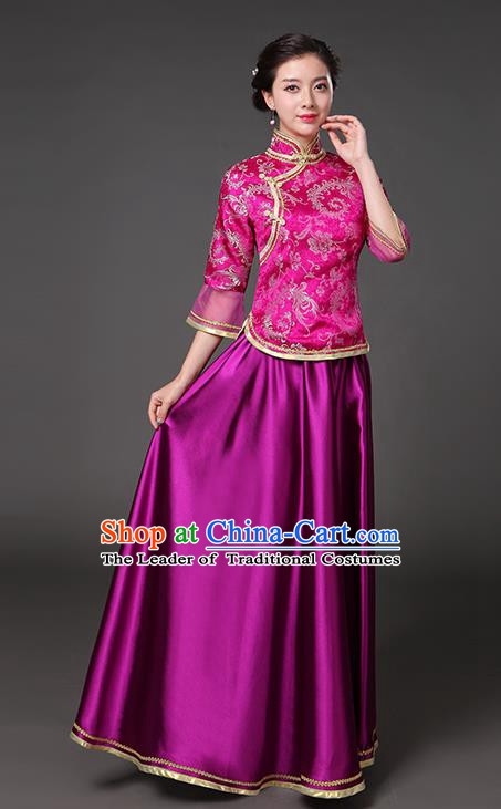 Traditional Chinese Republic of China Nobility Lady Clothing, China National Rosy Cheongsam Blouse and Skirt for Women