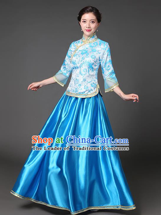 Traditional Chinese Republic of China Nobility Lady Clothing, China National Blue Cheongsam Blouse and Skirt for Women