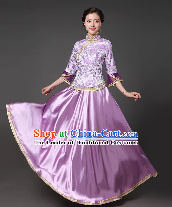 Traditional Chinese Republic of China Nobility Lady Clothing, China National Purple Cheongsam Blouse and Skirt for Women