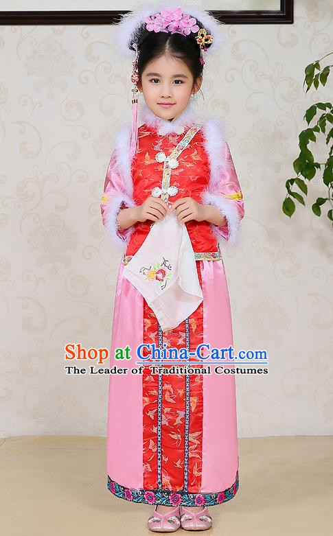 Traditional Ancient Chinese Qing Dynasty Manchu Lady Dress, Chinese Mandarin Princess Embroidered Clothing for Kids