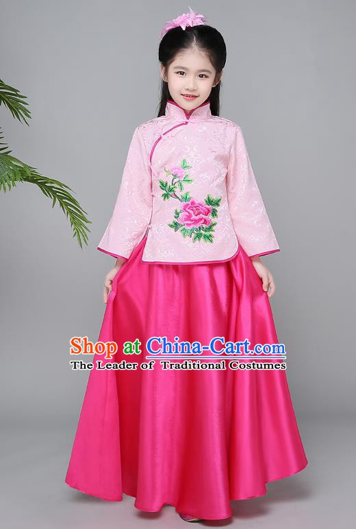 Traditional Chinese Republic of China Children Clothing, China National Embroidered Pink Cheongsam Blouse and Skirt for Kids