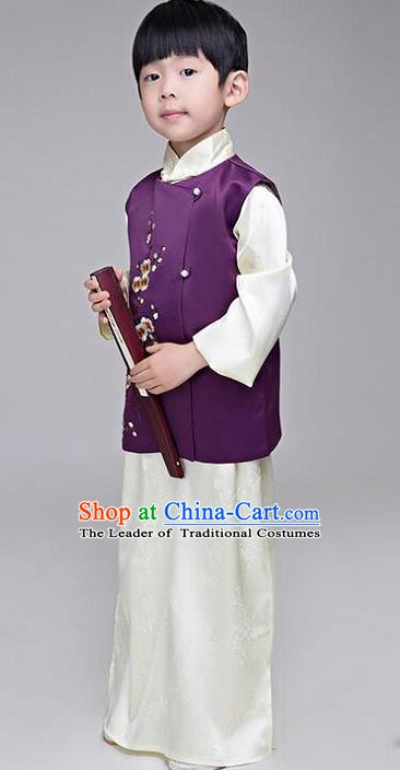 Traditional Chinese Republic of China Children Costume, Chinese Mandarin Nobility Childe Clothing for Kids