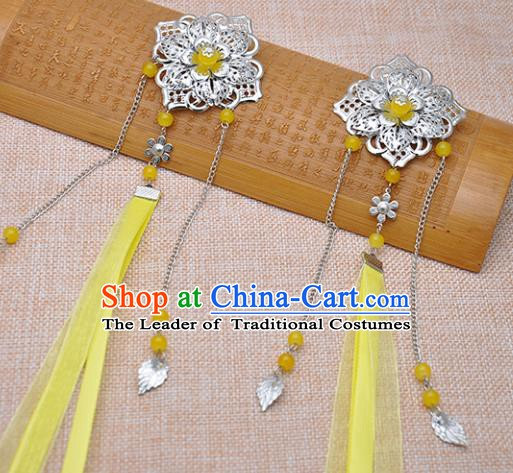 Traditional Chinese Handmade Hair Accessories Princess Hairpins Yellow Ribbon Hair Stick for Women