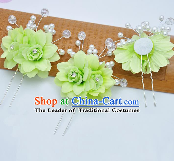 Traditional Chinese Handmade Hair Accessories Green Flowers Hairpins for Women