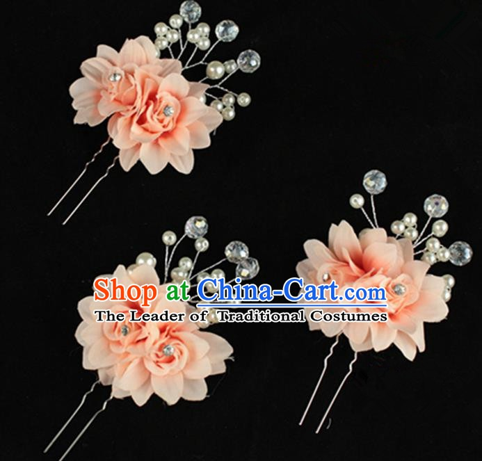 Traditional Chinese Handmade Hair Accessories Pink Flowers Hairpins for Women