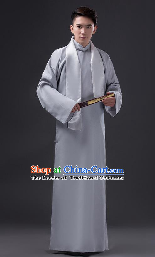 Traditional Chinese Republic of China Costume Grey Long Gown, China National Comic Dialogue Clothing for Men