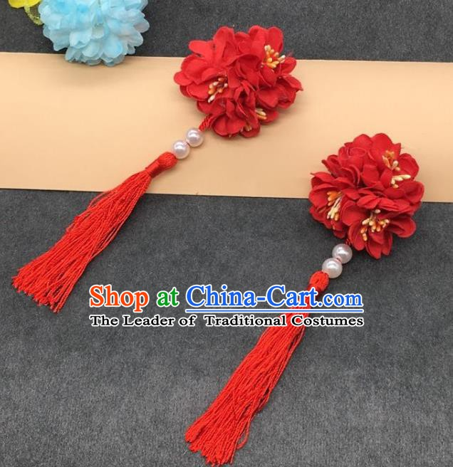 Traditional Chinese Handmade Hair Accessories Hairpins Hanfu Red Flowers Tassel Hair Claw for Kids