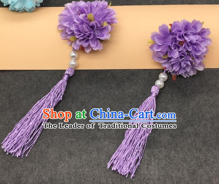 Traditional Chinese Handmade Hair Accessories Hairpins Hanfu Purple Flowers Tassel Hair Claw for Kids