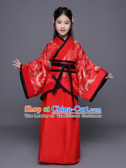 Traditional Chinese Ancient Princess Costume, China Han Dynasty Palace Lady Hanfu Curving-Front Robe for Kids