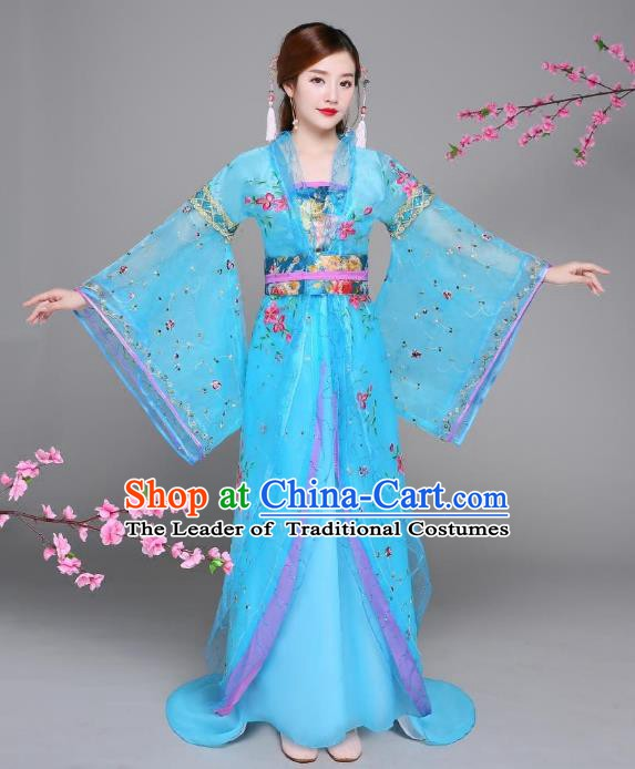 Traditional Chinese Tang Dynasty Imperial Concubine Costume, China Ancient Palace Lady Hanfu Embroidered Trailing Dress for Women