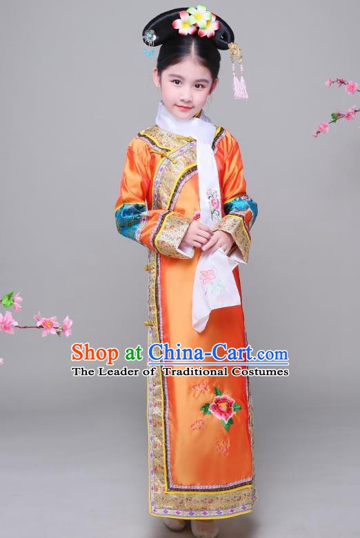 Traditional Ancient Chinese Qing Dynasty Princess Orange Costume, Chinese Manchu Lady Embroidered Clothing for Kids