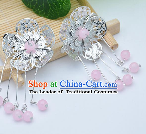 Traditional Chinese Handmade Hair Accessories Hairpins Hanfu Pink Beads Tassel Hair Claw for Kids