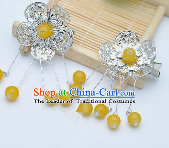 Traditional Chinese Handmade Hair Accessories Hairpins Hanfu Yellow Beads Tassel Hair Claw for Kids