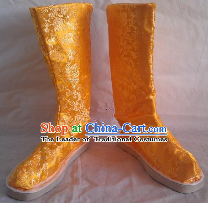 Asian Chinese Traditional Shoes Embroidered Yellow Shoes, China Ancient Hanfu Shoes Embroidered Satin Shoes