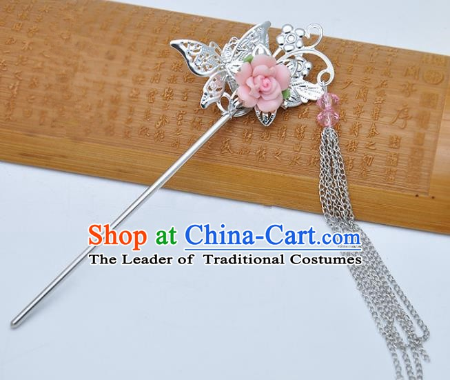 Traditional Chinese Handmade Hair Accessories Princess Hairpins Hanfu Pink Flower Tassel Step Shake for Kids