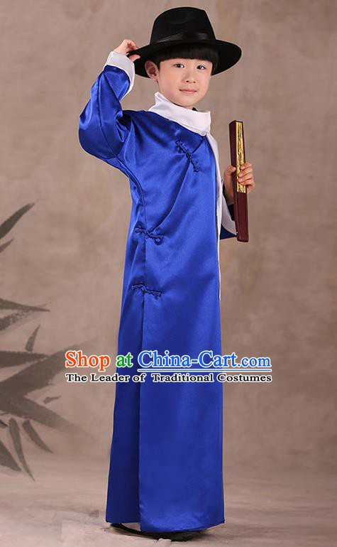 Traditional Chinese Republic of China Costume Children Blue Long Gown, China National Comic Dialogue Clothing for Kids