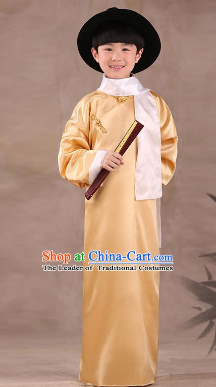 Traditional Chinese Republic of China Costume Children Yellow Long Gown, China National Comic Dialogue Clothing for Kids