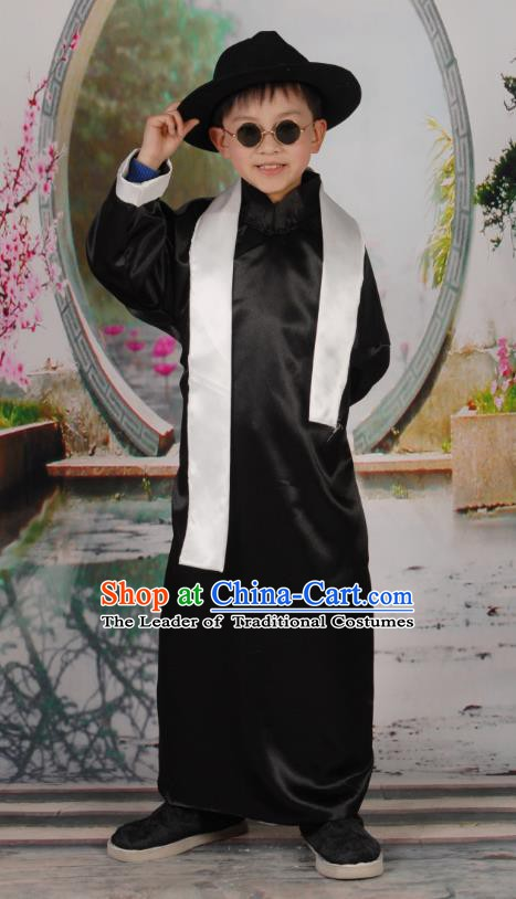Traditional Chinese Republic of China Costume Children Black Long Gown, China National Comic Dialogue Clothing for Kids