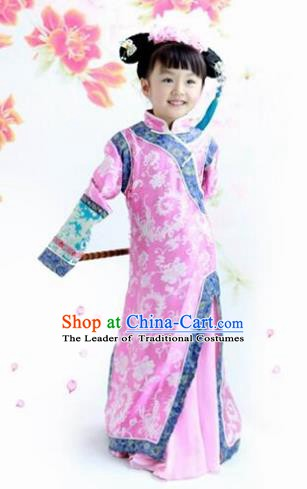 Traditional Chinese Qing Dynasty Princess Costume, China Ancient Manchu Lady Embroidered Clothing for Kids