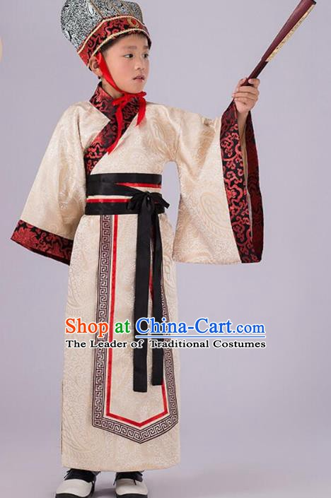 Traditional Chinese Han Dynasty Prime Minister Yellow Costume, China Ancient Chancellor Hanfu Clothing for Kids