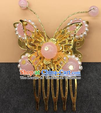 Traditional Chinese Handmade Hair Accessories Princess Hairpins Hanfu Pink Beads Butterfly Hair Comb for Kids