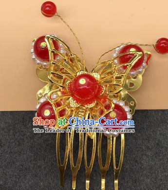 Traditional Chinese Handmade Hair Accessories Princess Hairpins Hanfu Red Beads Butterfly Hair Comb for Kids