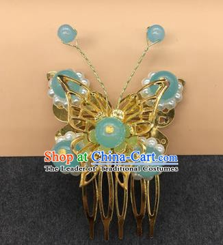 Traditional Chinese Handmade Hair Accessories Princess Hairpins Hanfu Blue Beads Butterfly Hair Comb for Kids