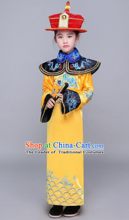 Traditional Ancient Chinese Qing Dynasty Emperor Costume, China Manchu Majesty Mandarin Embroidered Robe Clothing for Kids
